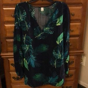 Vneck palm leaf blouse